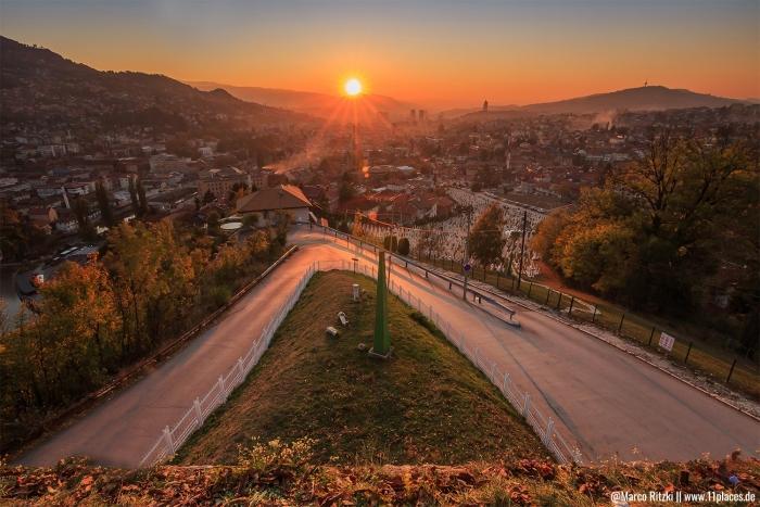 Aussicht von der Gelben Bastion zum Sonnenuntergang